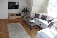 Apartament nr 3 - Pokój gościnny, sofa, stolik, telwizor